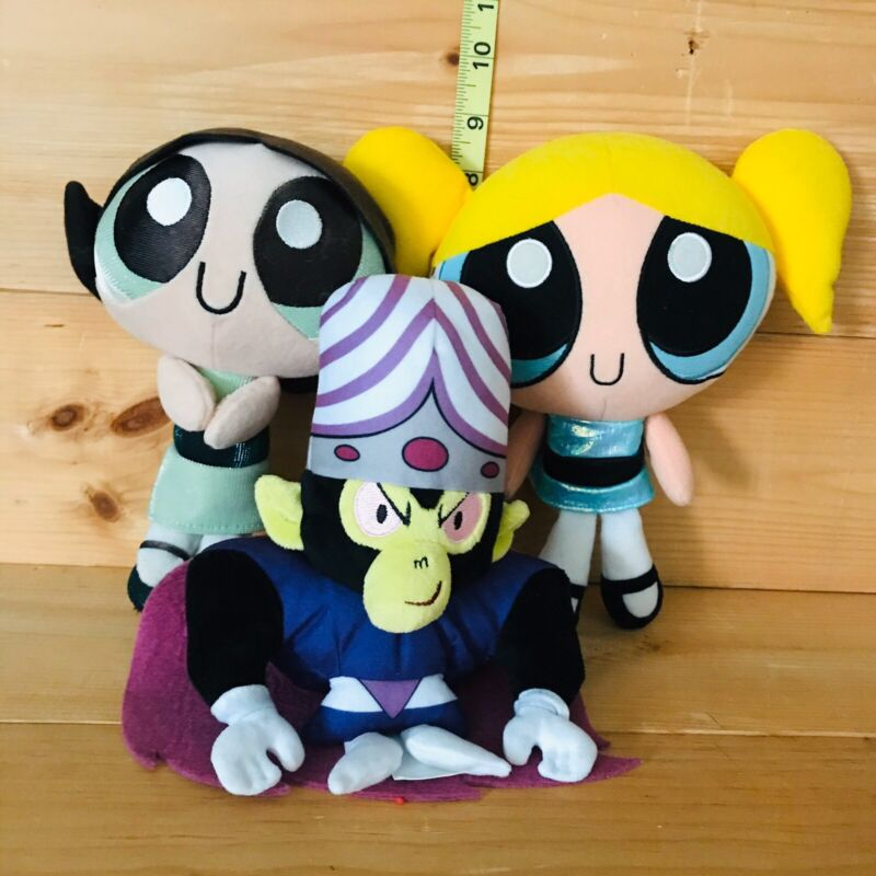 "Powerpuff Puffs Talking 9"" Doll Cartoons Network 2000, Buttercup And Monkey"