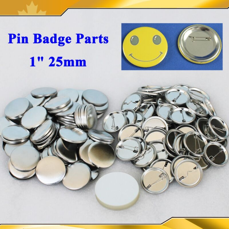 """1"""" 25mm 100Sets All metal Pin Badge Button Parts Supplies for Pro Button Maker"""