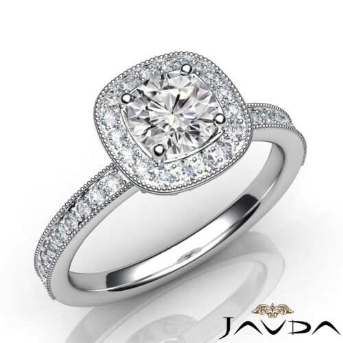 Round Brilliant Diamond Engagement Milgrain Ring GIA E VVS1 14k White Gold 1ct