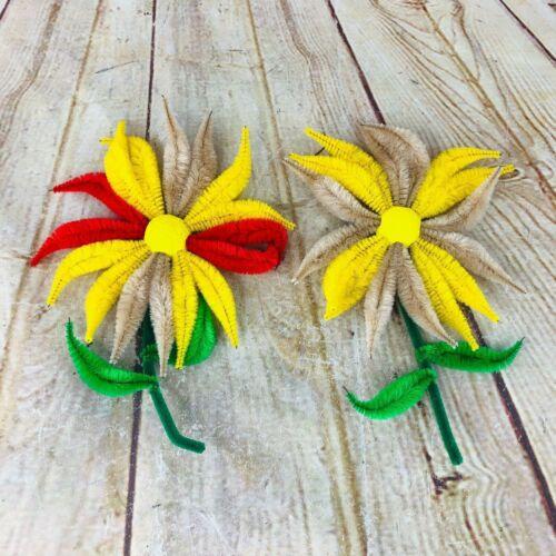 """vtg handmade chennelle lg flower pipe cleaner spring magnet 8"""""""