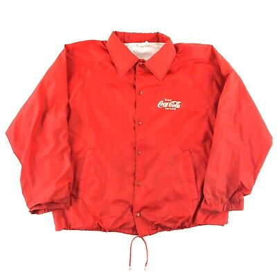 Vintage 80s 90s Coca Cola Bomber Jacket Men XL Lined Snap Front Spell Out Swishy