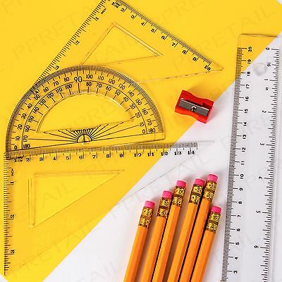 MATHS PACK Geometry Ruler/Set Square/Protractor/Pencils/Sharpener School/College
