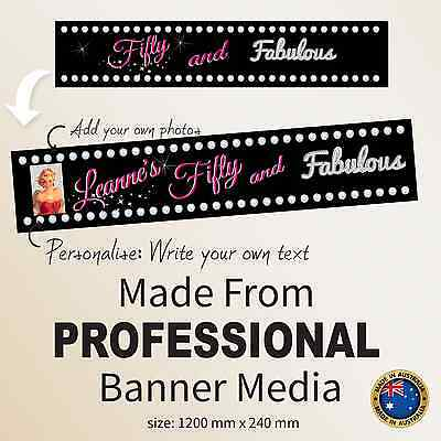 Fabulous 50th Birthday Decorations Gift Idea Canvas Party Banner Personalised  (50th Birthday Decoration Ideas)