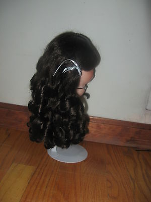 SIZE  9   ANIKA WIG  MOHAIR SYNTHETIC  JET BLACK  MODERN ANTIQUE DOLL
