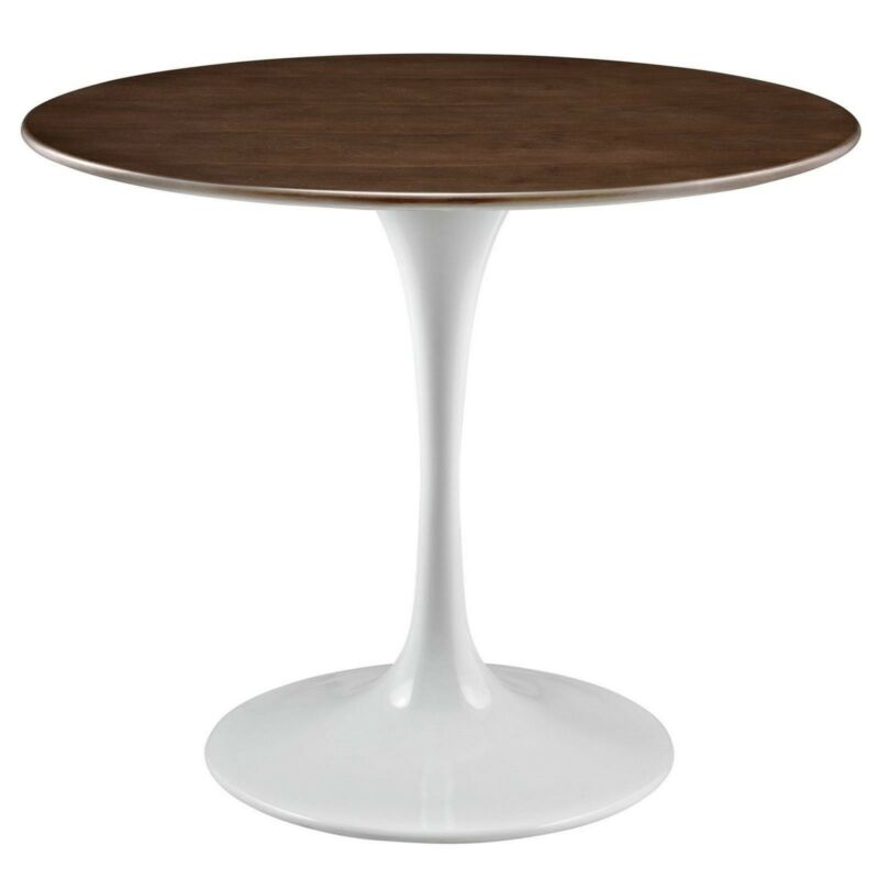 """Lippa 36"""" Round Walnut Top Dining Table With Lacquered Finished Base, Walnut"""