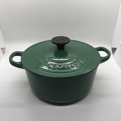 Vintage Le Creuset Green Enamel Cast Iron Round Dutch Oven W/ Lid #18 7.25in