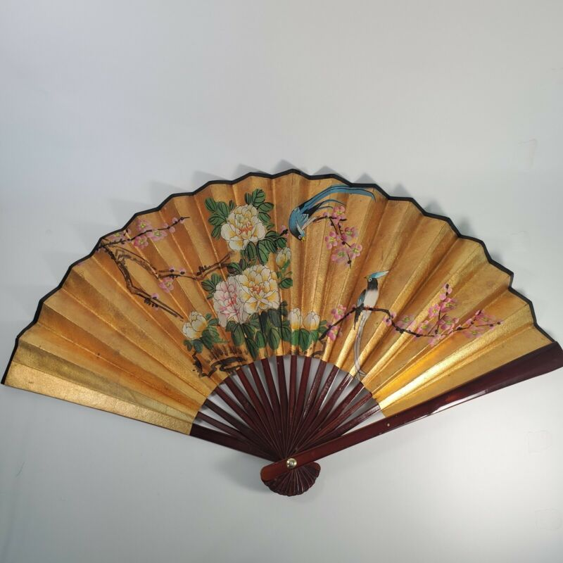 """27"""" VTG Asian HAND PAINTED Fan w/ Laquered Wood- Blue Jay&Flower&Cherry Blossoms"""