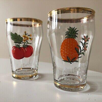 2 X Vintage Retro Kitsch 1950s 50s 1960s 60s Britvic Fruit Juice glasses glass