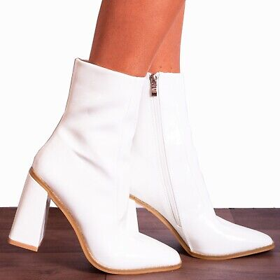 WHITE PATENT BLOCK HIGH HEELED SQUARE TOE ANKLE BOOTS HEELS SHOES SIZE 3 4 5 6 7 White Patent Ankle Boots