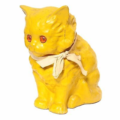 Vintage 1920's Germany Bright Yellow Cat Paper Mache Halloween Candy Container