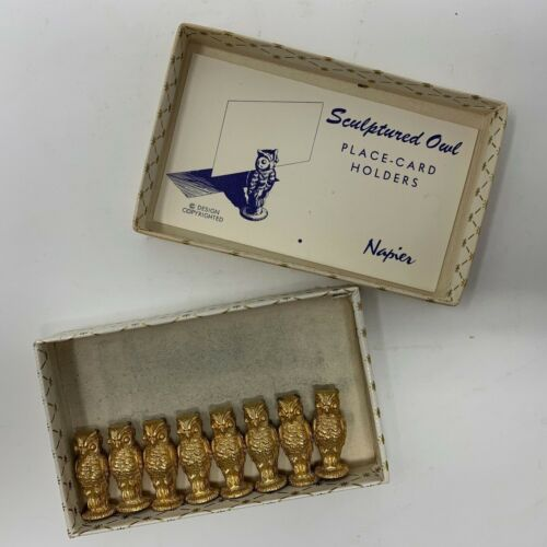 Set of 8 vintage NAPIER 472 OWL Place Card Holders Gold Plate Original box MCM