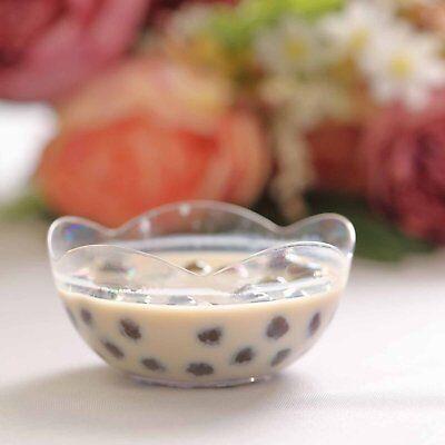 24 Pack - Clear Floriated Rose 2oz Plastic Dessert - Clear Plastic Bowl