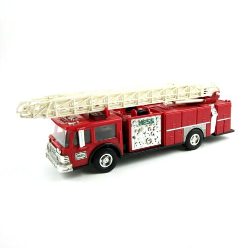 1986 Vintage Hess Firetruck Bank Red With Working Ladder and Lights