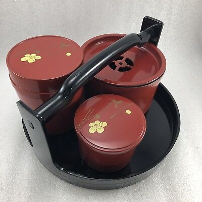 TR21 Japanese Lacquer Tea Caddy /Waste Water Pot with Tray Holder ,Sakura Glaze