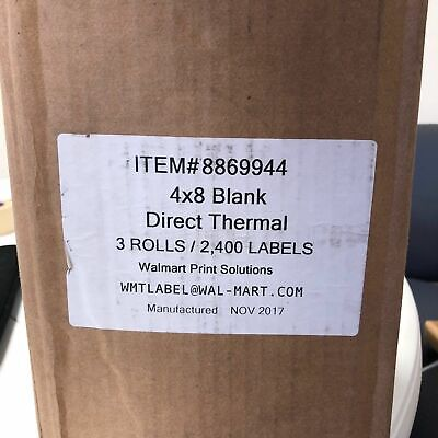 NEW 4x8 Blank Direct Thermal 3 Rolls/2,400 Labels Blank Direct Thermal Labels