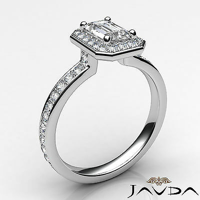 Emerald Cut Halo Pave Set Diamond Engagement Ring GIA G VS1 Platinum 950 0.95Ct 1