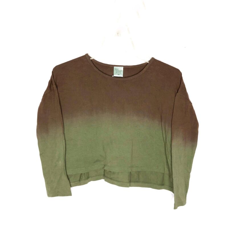 Haute Hits Girls Ombre Cropped Top Long Sleeve Brown Green size 10 NWT
