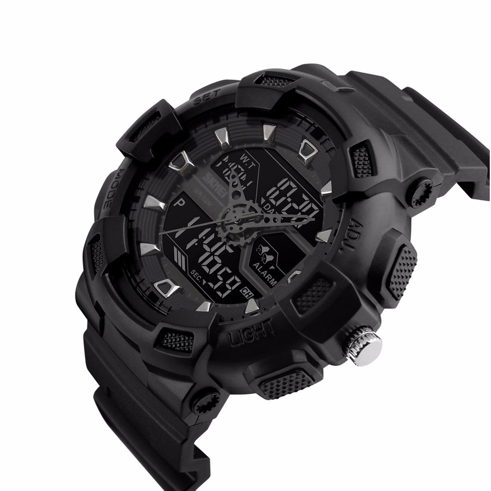 Mens Watches - Mens Military Sport Waterproof Date Alarm LED Analog Digital Watch Chronograph