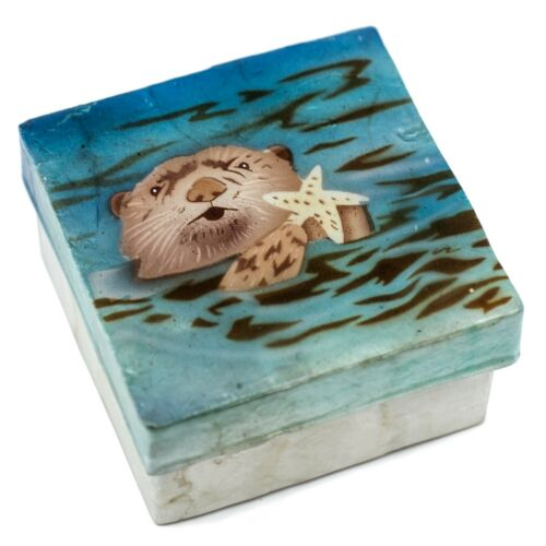 "Hand Painted Air Brushed Otter Capiz Oyster Shell Jewelry Trinket Box 3"" New!"