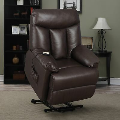Electric Lift Chair Recliner Brown Leather Power Motion Lounge Seat  New