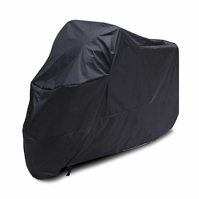 Black Waterproof Motorcycle Motorbike Moped Dust Rain Sun Vented Cover Large