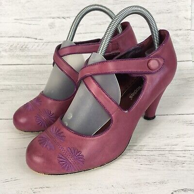 Hush Puppies Leather Retro Court Shoes Heels Crossover Mary Jane Strap Pink UK 5