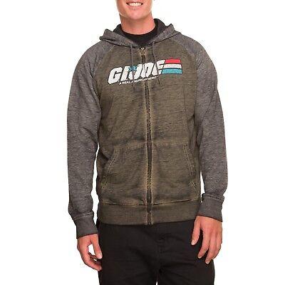 G.I. Joe Men's Fleece Burnout Zip Hoodie Sweatshirt Size Medium Sage Charcoal Burnout Zip Hoodie