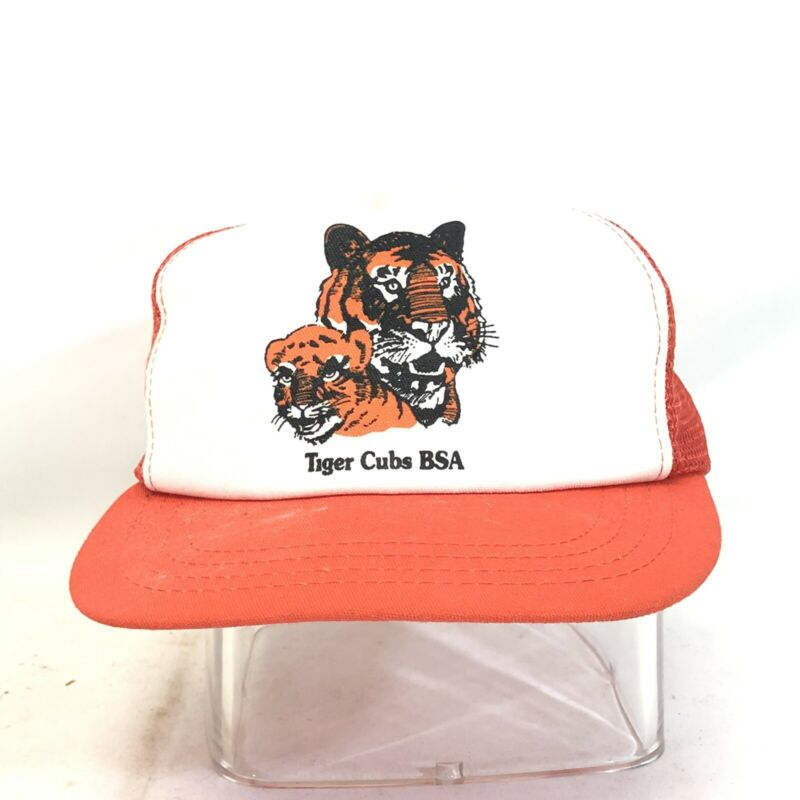 Vtg Tiger Cubs Boy Scout BSA Vented Trucker Cap Hat 80