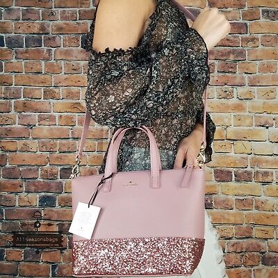 Kate Spade Greta Court Ina Dusty Peoni Pink Glitter Crossbody Bag SMALL $169