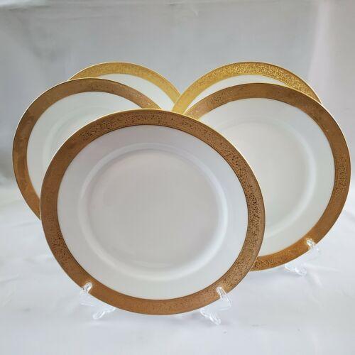LIMOGES Haviland H1262  White 5 Dinner Plates Wide Gold Encrusted Band France