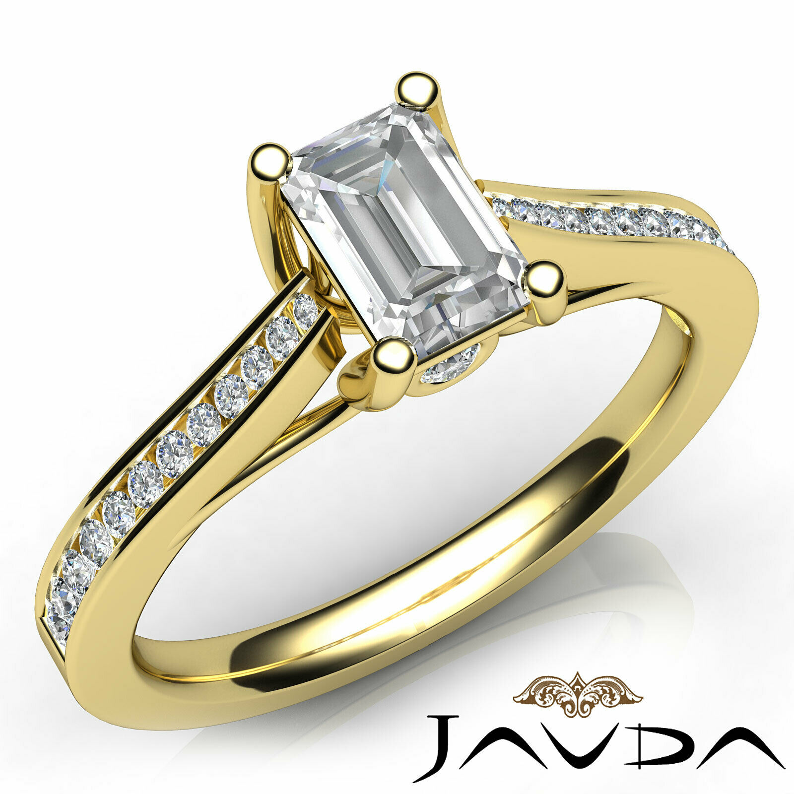 1Ctw Channel Set Emerald Diamond Engagement Her Ring Band GIA H-VVS1 White Gold 9