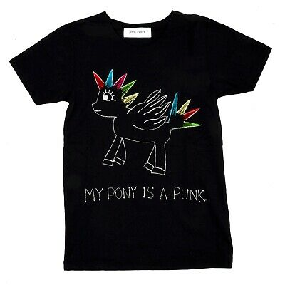 NEW Jimi Roos Made in Italy T SHIRT Black my Pony is a Punk Embroidered Multis S