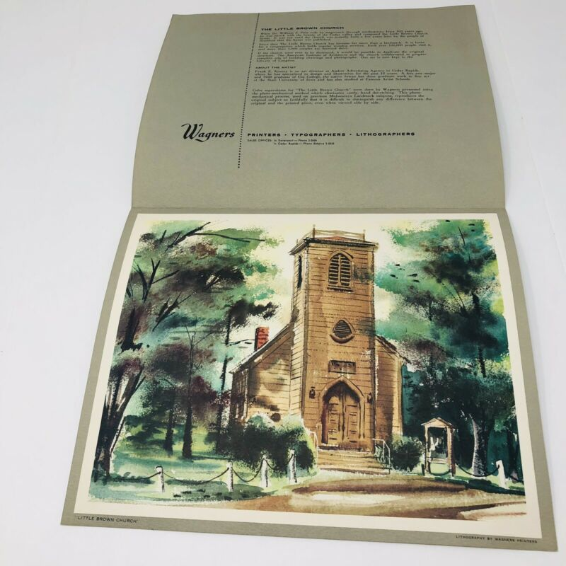 Vintage Little Brown Church Nashua Iowa Wagners Midwestern Landmarks Lithograph