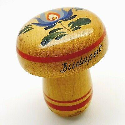 Vintage Budapest advert needle holder darner wooden sock mushroom Hungary