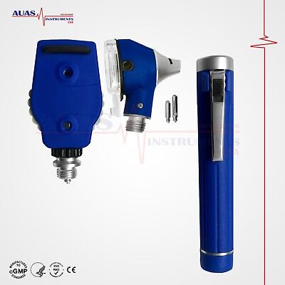 Otoscope Ophthalmoscope Blue Fiber Optic Examination Led Ent Diagnostic
