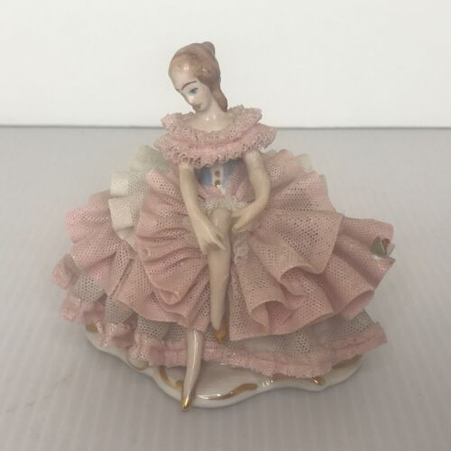 Vintage Dresden Art Pink Lace Figurine Seated Lady Germany Wilhelm Rittirsch