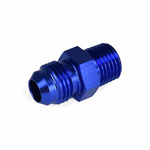 1/8 NPT to 6AN Adapter Straight Pipe Thread to 6 AN Flare Fitting Blue