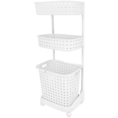 3 Tier Rolling Laundry Basket W/ Shelves Storage Organizer for Detergent White Home & Garden
