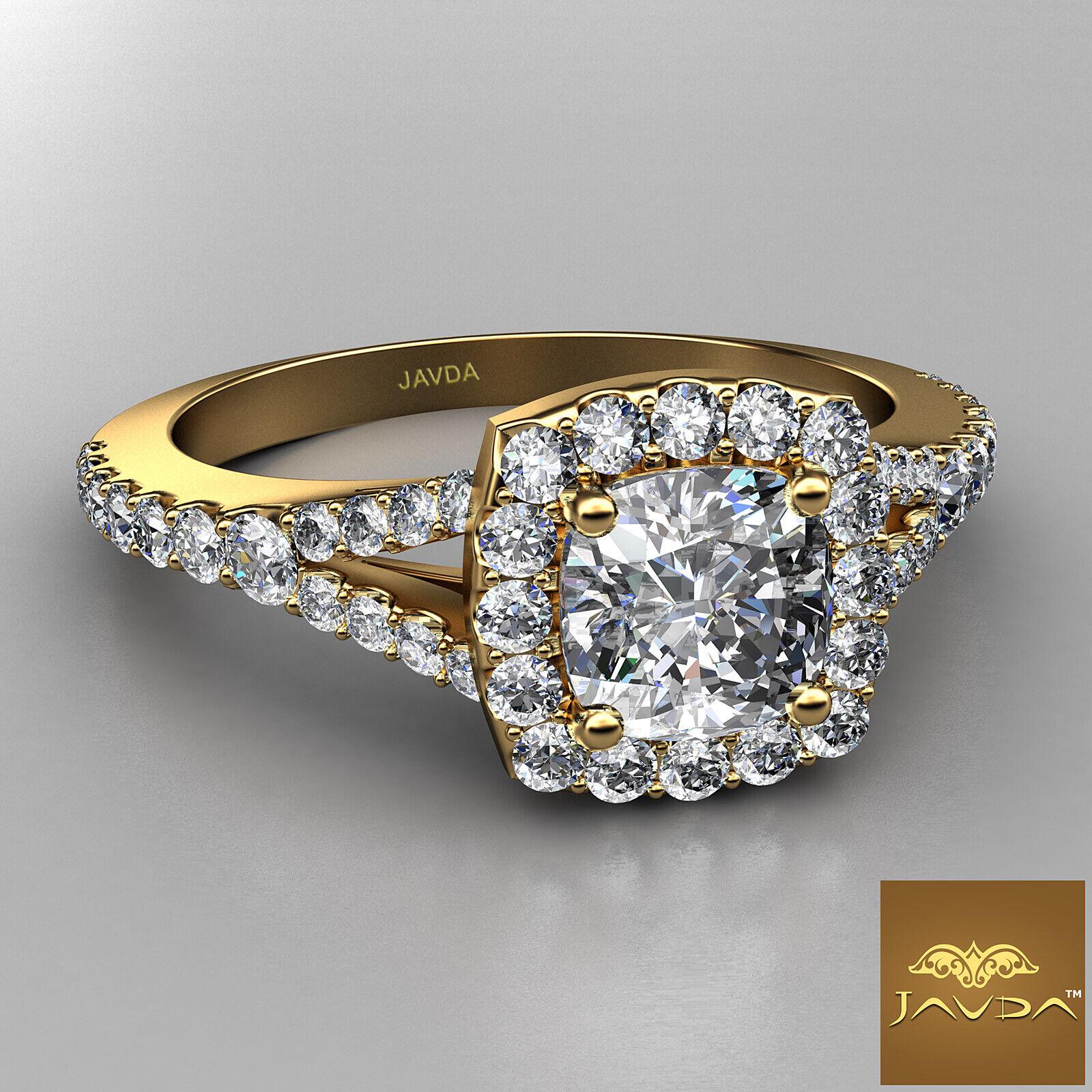 Split Shank Cushion Diamond Engagement Yellow Gold U Pave Ring GIA H VVS2 1 Ct 1