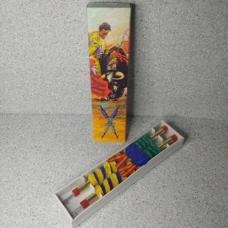 Set 2 Vintage Spanish Bull Fighting Souvenir Pair Harpoons Spears Darts in Box