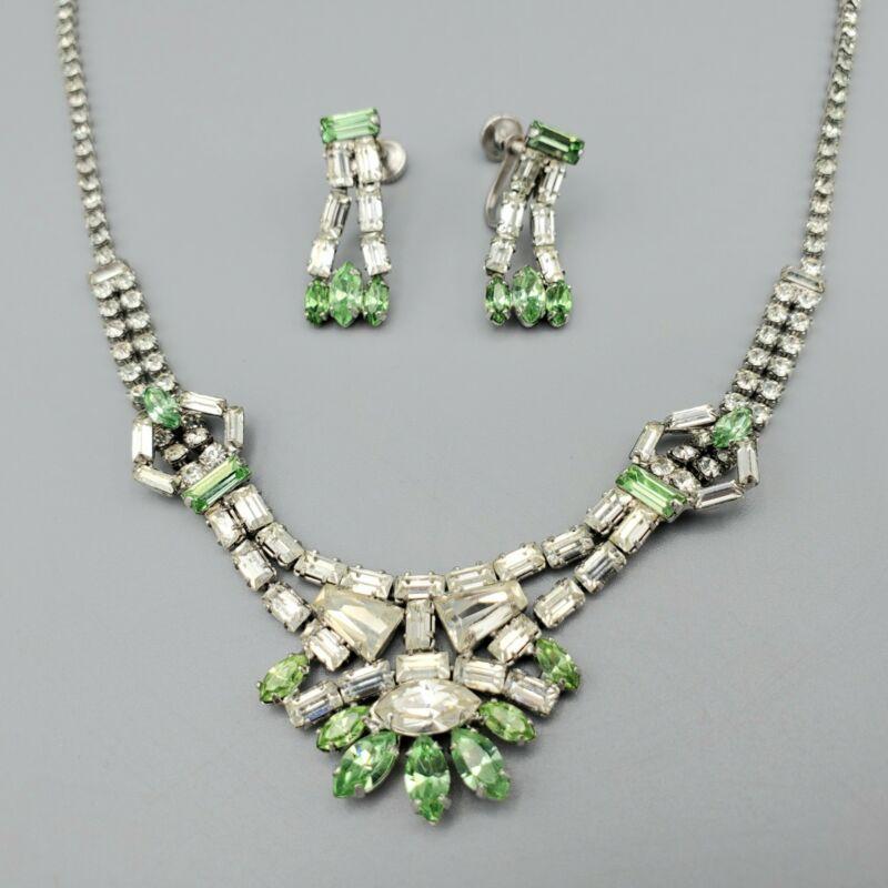 Jay Flex Signed Sterling Silver Green Clear Baguette Diamante Necklace Earrings