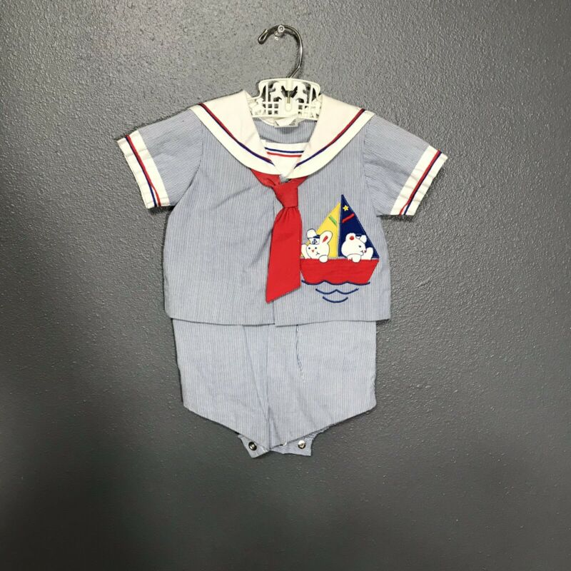 Vintage Baby Boy Sailor Suit 2 Piece Blue And White Striped  3-6 Months