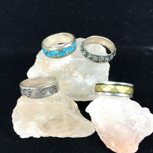 Vintage Sterling Silver Rings Lot Of 4 Bands Turquoise Spinner Footprints Beaded