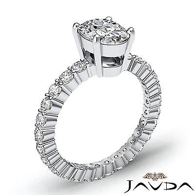 Shared Prong Oval Shape Natural Diamond Engagement Eternity Ring GIA F VS2 1.8Ct 1