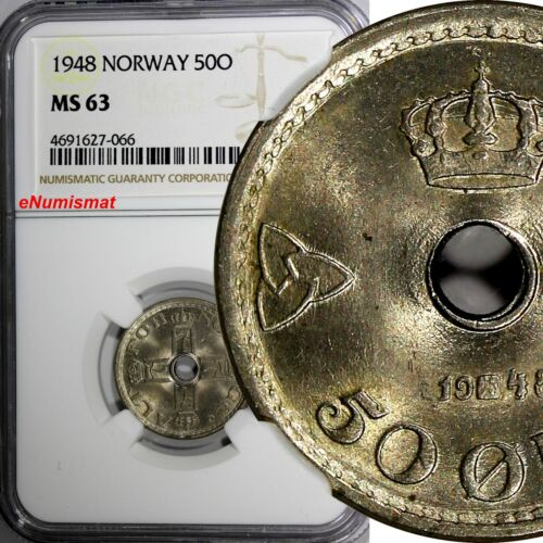 Norway Haakon VII Copper-Nickel 1948 50 Ore NGC MS63 KM# 386