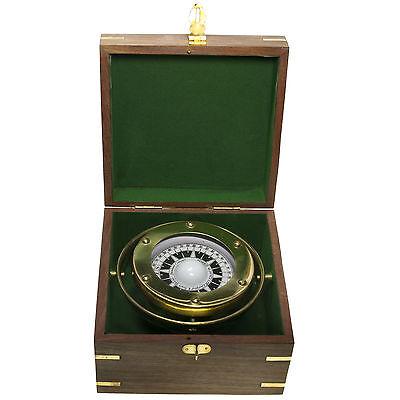 Messing Kompass kardanische Aufhängung in der Holzbox Navigation Maritim Neu