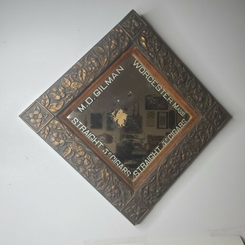 Antique Cigar Advertising Wall Mirror M D Gilman Worcester MA Floral Wood Frame