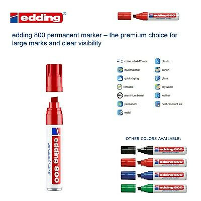 Edding 800 Permanent Marker - Large Tip - Red - Made In Germany - Us Seller