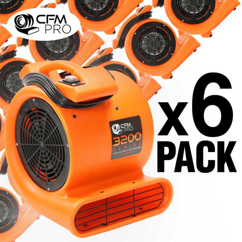 Air Mover 1/2 HP Blower Fan - Industrial - Orange (6 Pack)