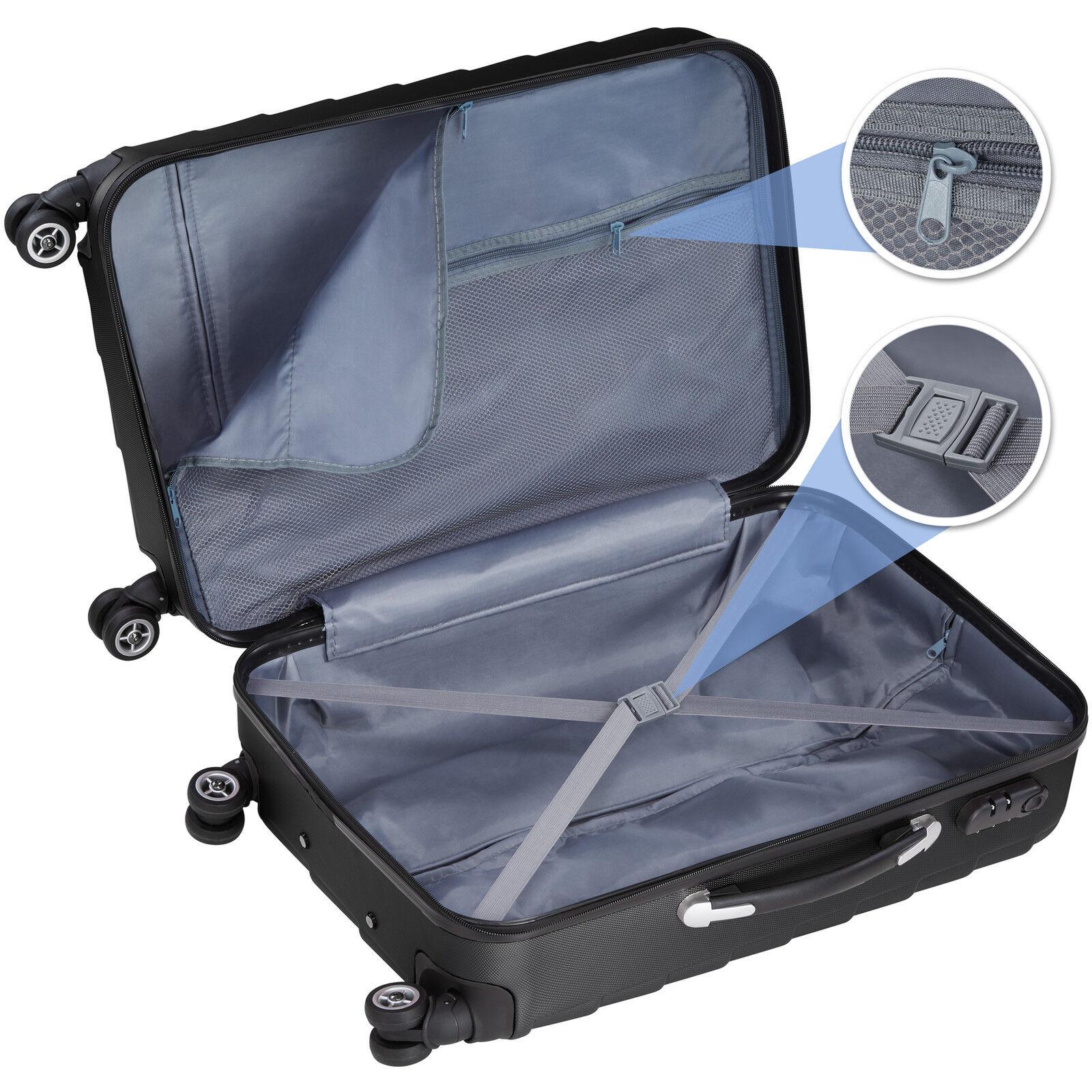 Set de 3 valises de voyage coque ABS léger rigide bagages valise trolley noir 2